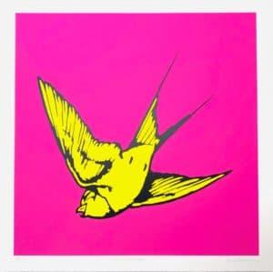 Dan Baldwin Pink and Yellow Swallow love and light graphic screenprint square