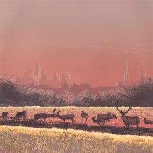 emma reynolds Richmond Dawn Deer ii square landscape screenprint