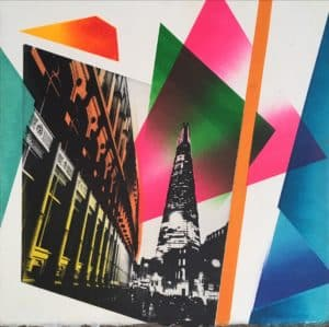 Southwark Lights Limited edition photo-etching and monotype print sophie layton