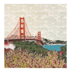 Leafing San Francisco Clare Halifax silk screen print landscape