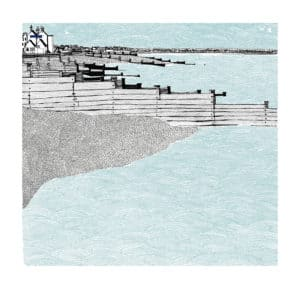whitstable old neptune clare halifax silk screen print seascape