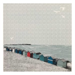 whitstable sloping beach clare halifax silk screen print seascape