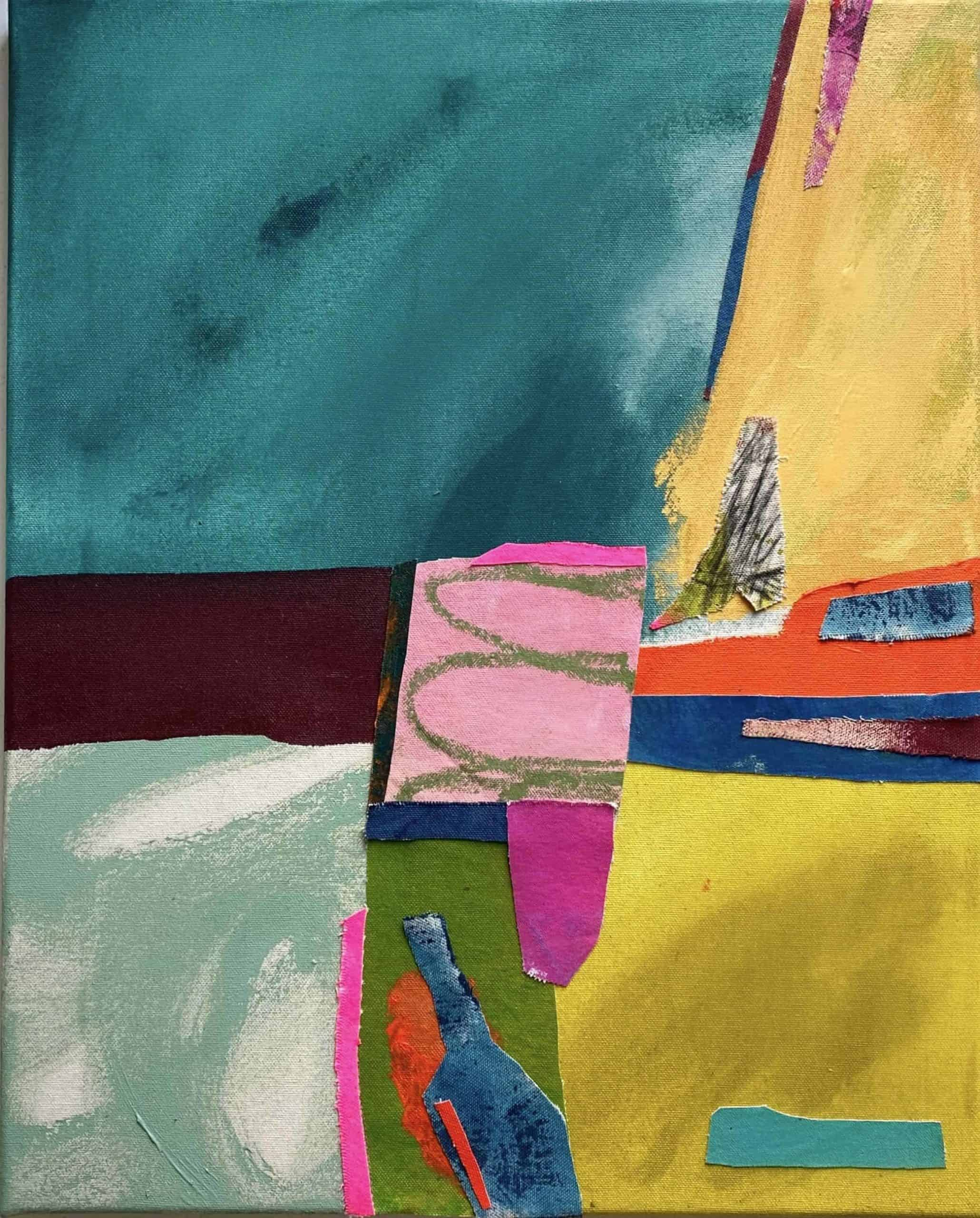Calamity Jane's Secret Love by Frankie Thorp abstract collage and acrylic on canvas art